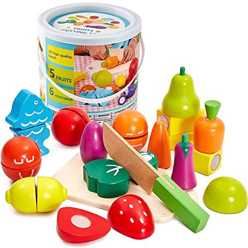 HERSITY Jouet à Découper Légumes et Fruits en Bois Aliment de Cuisine Jeux D'imitations Cadeau pour Enfants 2 Ans+