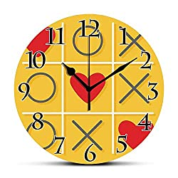 Silent Wall Clock,Love Decor,Tic Tac Toe Game with XOXO Flat Design Let Me Kiss You Funny Playful Romantic Illustration,Yellow Red Non Ticking Wall Clock/Desk Clock for Office Home Decor 9.5 inch