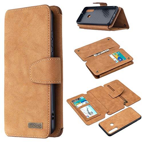 Snow Color Huawei Y6p Hülle, Premium Leder Tasche Flip Wallet Case [Standfunktion] [Kartenfächern] PU-Leder Schutzhülle Brieftasche Handyhülle für Huawei Y6p - COBFE080273 Braun