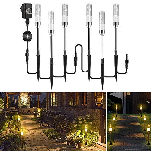 ECOWHO 6er warmweiß Gartenleuchtung mit Erdspieß IP65 Wasserdicht Gartenstrahler mit Strom, LED erweiterbar Gartenleuchte mit Kabel, Gartenlampe außen für Outdoor Rasen Hof