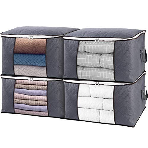SGHUO Large Capacity Clothes Storage Bag, 4Pack Closet Organizers for Comforters, Blankets, Bedding, Foldable Clothes Storage Container with Thick Fabric, Sturdy Metal Zipper, Reinforced Handles, Clear Window, Grey, 84L
