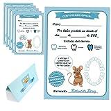 Myfuturshop® Carta ratoncito Pérez Certificado de diente limpio 10 Unidades. Regalo original para niño y niña. Azul