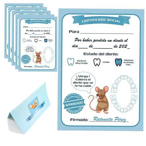 Myfuturshop® Carta ratoncito Pérez Certificado de diente limpio 10 Unidades. Regalo original para niño y niña....