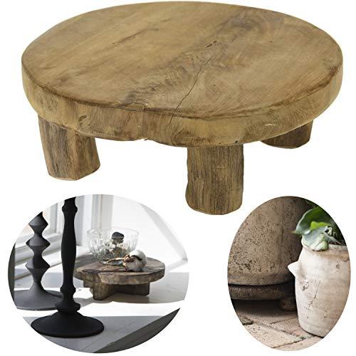 LS-LebenStil Teak Holz-Tischchen 20x7cm Blumenständer Etagere Pflanzenhocker