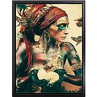 巫女女性の肖像画蝶壁アートキャンバス絵画北欧ポスターやプリントリビングルームの装飾フレームレス用ヴィンテージ壁画像-40x60cm