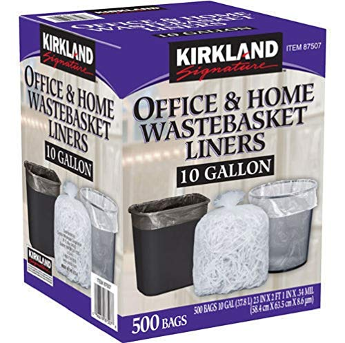 Kirkland Signature-87507 Wastebasket Liners, Clear, 10 Gallon, 500 ct