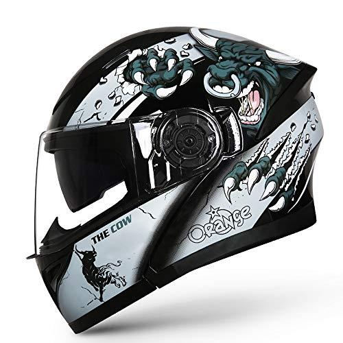 U/D Casco de la Motocicleta de la Cara Llena Vsior Dobles Cascos de Motocicleta for Hombres Mujeres FILP hasta compite con el Casco Interior con Parasol (Color : Negro, Size : M)