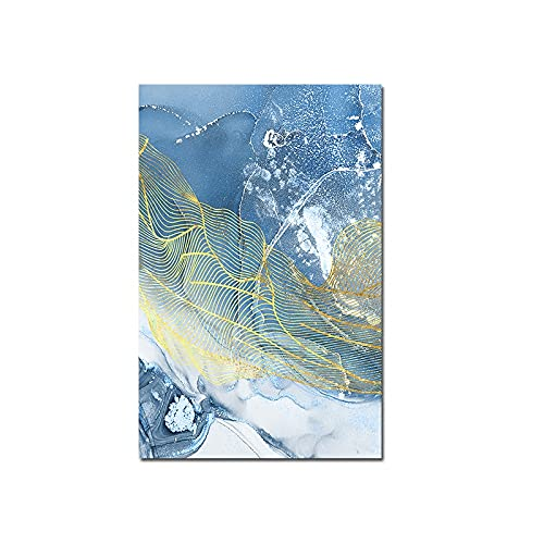 Arte de graffiti abstracto moderno plumas aleteo azul mar niebla nubes de humo lienzo nórdico pintura arte de pared póster impresiones dormitorio sala de estar decoración del hogar