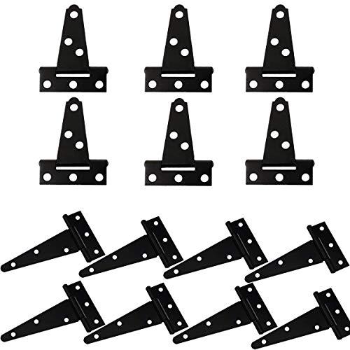 Bisagras en T Negro,Qiundar 14Pcs Bisagras Resistentes Puertas Bisagras,para El Hogar Gabinete La Puerta Del Armario