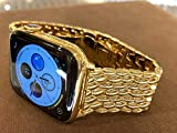 Custom 24K Gold Plated 44mm iWatch Series 6 Stainless Steel with Links Band LTE+GPS+O2