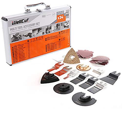 WELLCUT WC-MT34 Mix Multi Tool Sägeblätter 34 teilig Zubehör Set in Aluminium