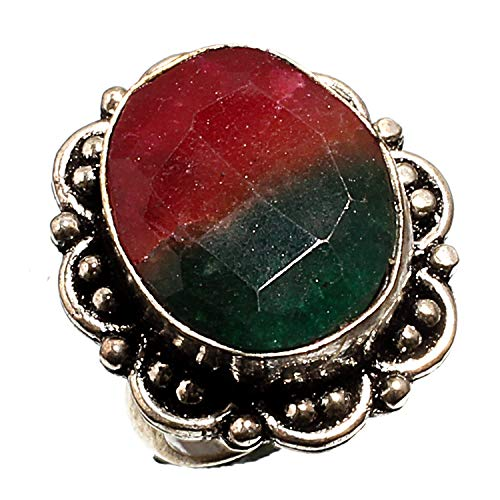 Bi-Color Tourmaline Gemstone 925 Silver Plated Jewelry Handmade Ethnic Jewelry Ring For Girls and Womens (Ring s/z (USA) - 7) (ZC-226) Black Friday