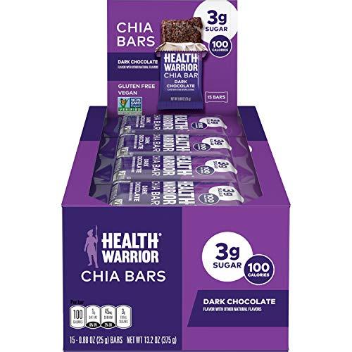 HEALTH WARRIOR Chia Bars, Dark Chocolate, Gluten Free, Vegan, 25g bars, 15 Count