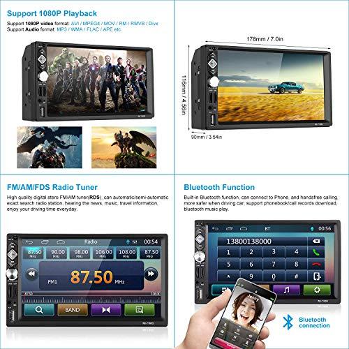 Autoradio 2 DIN Reproductor Mp5 de Coche 7 Pulgadas 1080P FHD Pantalla Táctil Bluetooth GPS Radio FM Mirror Link Carga Rápida con Control Remoto Cámara de Visión Trasera 8G Tarjeta AUX USB 2.0 SD