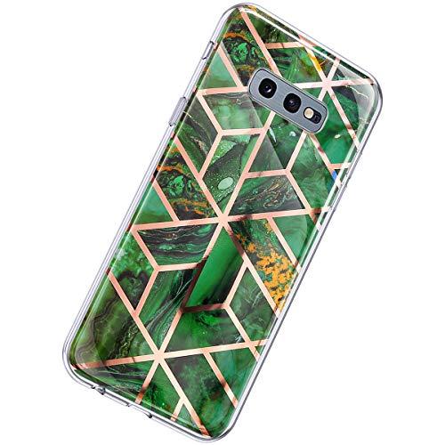 Herbests Kompatibel mit Samsung Galaxy S10e Hülle Marmor Muster Glänzend Glitzer Bling Weich Silikon Hülle Kratzfest Schutzhülle Tasche Crystal Case Durchsichtig Dünn Handyhülle,Marmor Grün