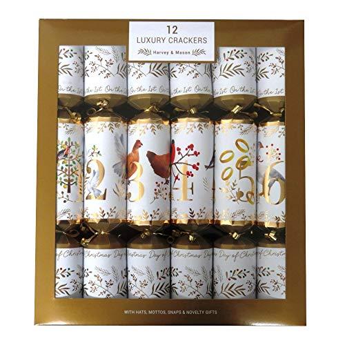 RSW INTERNATIONAL Luxus-Knallbonbon, 35 cm, 12 Tage Weihnachten, Karte, Papier, Schleife, Glitzer, mehrfarbig, 35 cm