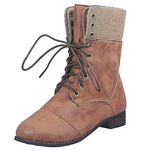 UMore Botas Mujer Invierno Forradas Cálidas Botines Serraje Tacón Ancho Medio Plataforma Zapatos Nieve Cómodos Casual