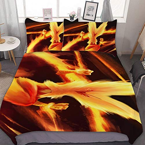Rod Kent 3 Pieces of Bedding, Microfiber,Super Soft and Comfortable,Close to The Skin,Boys and Girls,for Blaziken (Poké-mon) Yellow Fire,Full/Queen(90'x90')