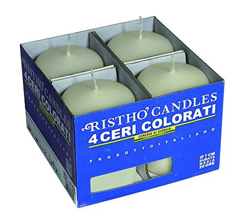 Cereria di Giorgio risthò, Wax Church Pillar Candles, Cream, 10x 10x 7cm, 4Units