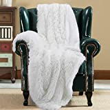 JOYFEEL Shag with Sherpa Reversible Warm Throw Blanket, Ultra Soft, Cozy Plush Luxury Fuzzy Longfur Blanket, Washable Couch Bed Fluffy Furry Throws Photo Props, 50x60-Pure White