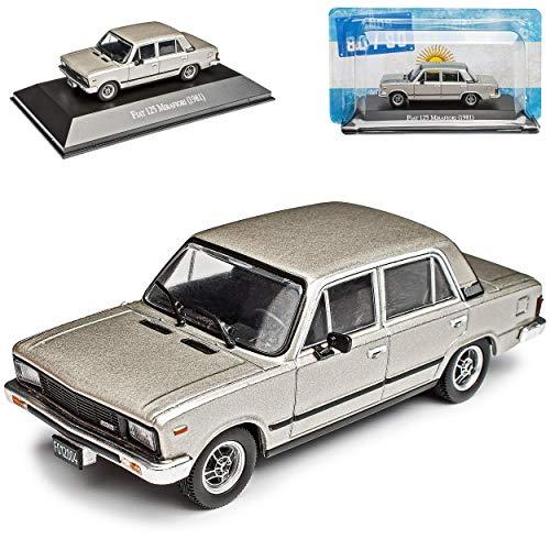 FIAT 125 Mirafiori Limousine Silber 1967-1982 mit Sockel 1/43 DeAgostini Modell Auto mit individiuellem Wunschkennzeichen