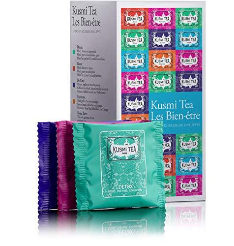 Kusmi Tea - Coffret de thé en sachet Les Bien-être - Assortiment thés aromatisés et infusions - Thés Detox, Boost, Sweet Love et Infusions Be Cool - Boite de 24 sachets mousseline