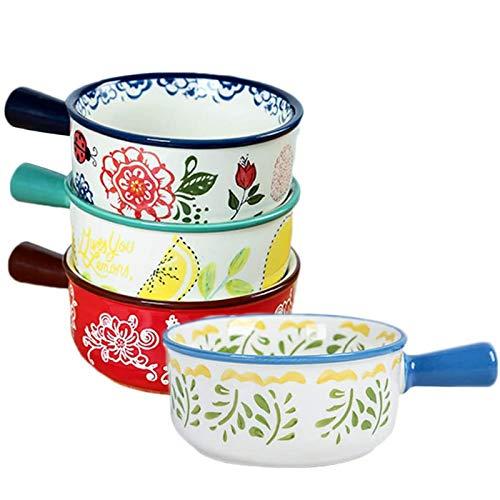JNN Set mit 4 Suppentassen mit Griffen, 15 Unzen französische Zwiebelschale, Porzellan-Servier-Suppenschüssel, Mikrowellen-Safe, für Suppe, Chili, Rindfleischeintopf
