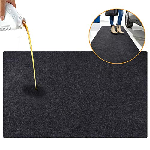 JOMMIE CHEN Garage Oil Spill Mat, Waterproof Garage Mat for Floor 36x60 Inches, Washable/Reusable/Durable/Lightweight/Absorbent Oil Mat Garage Floor Protector Rubber Backing Black
