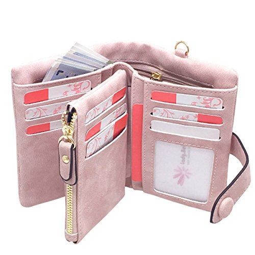 Rfid Leather Wallets for Women Ladies Wristlet Clutch Large Capacity Zipper Purse for Coins Card Holder Organizer(Pink)