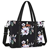 MOSISO USB Port Laptop Tote Bag (Up to 17.3 inch) with Adjustable Top Handle,Laptop Bag for Women,Water Repellent Polyester Portable Lightweight Work Office Travel Shopping Shoulder Bag,Hibiscus Black