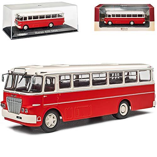 alles-meine.de GmbH Ikarus 620 Bus Rot mit Weiss 1959-1971 mit Sockel und Vitrine 1/72 Atlas Modell Auto