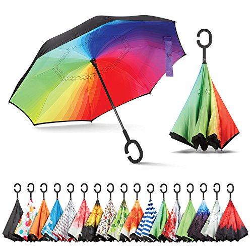 sharpty seitenverkehrt Regenschirm, Regenschirm Winddicht, Rückseite Regenschirm, Regenschirme für Frauen mit UV-Schutz, umgedreht Regenschirm mit C-förmigem Henkel, regenbogenfarben