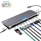 USB C ハブ,USB type C HDMI ドッキングステーション,4KのUSB Cドッキングステーション,1080P VGAポート,100W PDポート,イーサネットポート,USB C to USB 3.0,sd/tfカードリーダーを備えたUSB Cドック,マルチディスプレイ 適応MacBook対応の12 in 1トリプルディスプレイ ハブ 在宅ワーク テレビ会議