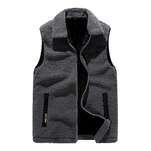 Chaleco de lana de cordero de imitación suelto y cálido, sin mangas, unisex, chaleco de solapa para ocio, deportes, viajes, adecuado para otoño e invierno, gris, 2XL