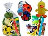 Lote de 3 Balones de Balonmano con Golosinas y Peluches en Bolsas de Celofán Lunares Regalos y Juguetes para Cumpleaños, Bodas, Bautizos y Comuniones. DC (PATO-BARCELONA)