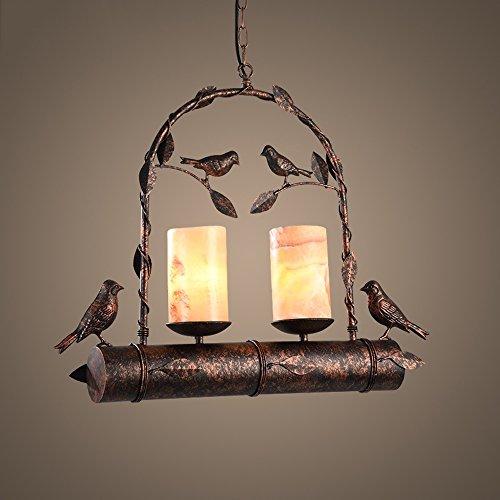 Lustres en marbre d'imitation, magasin de vêtements en fer à repasser LED créatif Bird plafonniers lampes table à manger nordique salon pendentif lumière rouille, 2 lumières