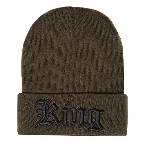 Accessoryo - Bonnet Kaki brodé 'King' Slogan