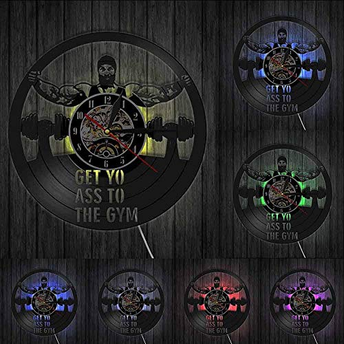 CVG Get Yo Ass To The Gym Workout Dumbbell Reloj de Pared con Disco de Vinilo Sin Dolor No Hay Ganancia Diseño de Fitness Decoración de Pared Reloj de Pared Regalo para él Luces LED