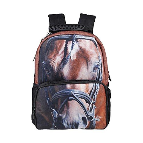 TOOGOO(R) Unisex Vivid 3D Animali Stampa Daypack di animale domestico Cane personalizzata zaino scuola con Ambientale feltro tessuto e poliestere Materiale (Cavallo)