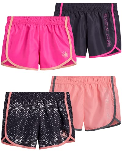 Body Glove Girls 4-Pack Athletic Gym Workout Yoga Dolphin Running Shorts, Size 12 X-Large, Charcoal Polka Dot Coral Pink