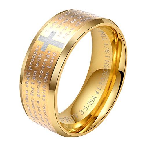 HIJONES Herren Edelstahl Bibel Verse Herr Gebet Kreuz Gott Ring Gold Größe 57