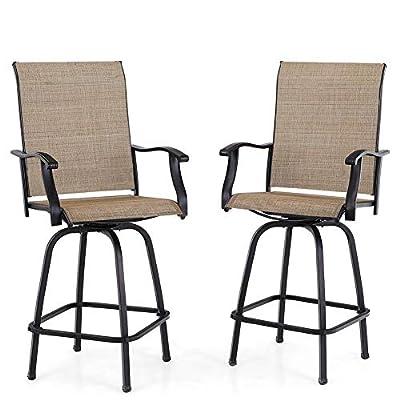 PHI VILLA Swivel Bar Stools All-Weather Patio Furniture, 2 Pack
