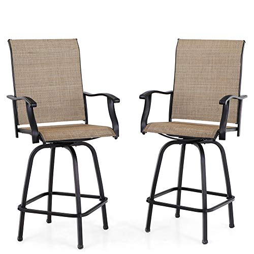 PHI VILLA Swivel Bar Stools All-Weather Patio Furniture, 2 Pack