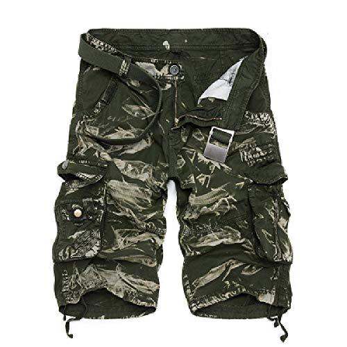 Pantalones cortos para hombre, diseño de camuflaje militar, bermudas, verano, camuflaje, pantalones cortos para hombre, de algodón, holgados Greencamo 30W