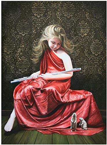 ZHAOSHOP ölgemälde malen nach Zahlen DIY Red Weibliche Flötenspieler Figur Leinwand Hochzeit Dekoration Kunst Bild Geschenk 40x50 cm zbsp1064 DIY Digitale Malerei