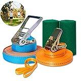 Minetom slackline - juego de cuerdas de equilibrio para niños, para principiantes, portátil, para slackline, juego de 12,5 m