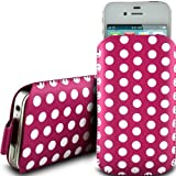 PINK POLKA DOT PREMIUM PU LEATHER PULL FLIP TAB CASE COVER