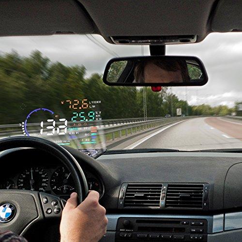 Preisvergleich Produktbild BLESYS - 5, 5 Zoll Multi-Color HUD Head-Up Display im Auto beschäftigen Nano-Technologie für die Abnahme und die Glare Clear Display ohne Reflection Film,  nur Arbeiten mit OBD2 & EOBD Auto