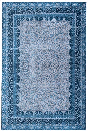 Mylife Rugs Traditional Vintage Non Slip Machine Washable Printed Area Rug, Blue Grey 5'x7'