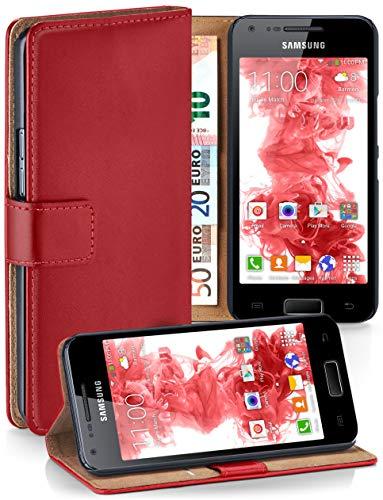 moex Premium Handytasche kompatibel mit Samsung Galaxy S2 / S2 Plus - Klapphülle mit Kartenfach und Ständer, magnetische Handy Tasche - Flip Case Schutzhülle, Rot